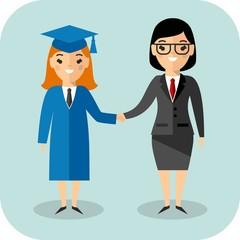Illustration of graduate and teacher