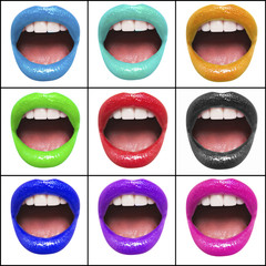 Collage of colorful lips of woman