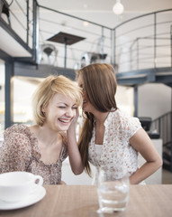 Happy young woman whispering into female friend's ear in cafe