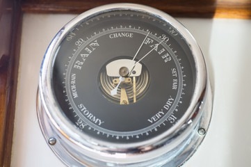 Close-up of boat barometer