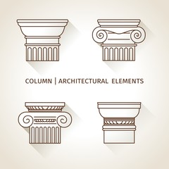 linear icons Columns. Flat with long shadows. elements of logo
