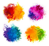 Fototapety Hand drawn paint splashes isolated on white