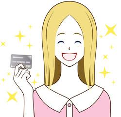 カードを持つ女性 笑顔