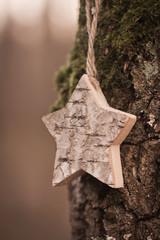 Holzstern am Baum