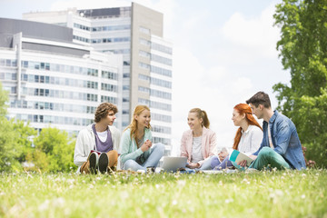 University students studying together on campus ground