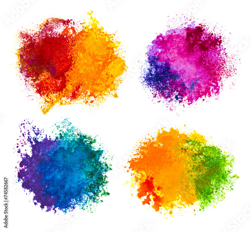 Hand drawn paint splashes isolated on white - 74582667