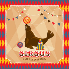 Vintage circus card with eared seal