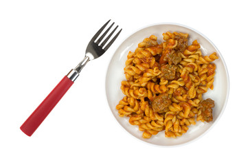 TV Pasta Dinner On Plate With Fork