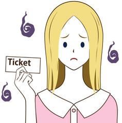 チケットを持つ女性 困り顔