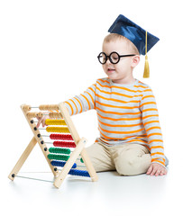 Kid in graduation cap and glasses with colorful abacus isolated