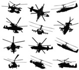 Military helicopter silhouettes set. Vector