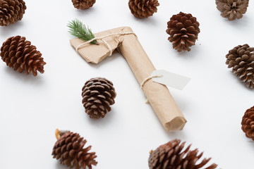 Axe gift wrapped over white background