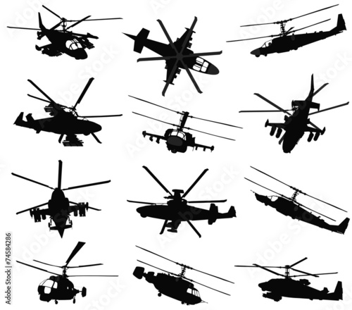 Military helicopter silhouettes set. Vector - 74584286