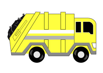 yellow garbage truck side cartoon