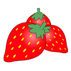 yummy red stawberry fruit cartoon