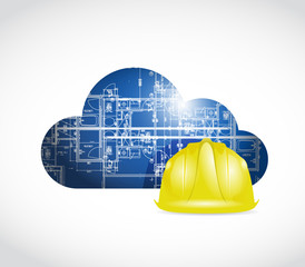 blueprint cloud helmet illustration design