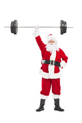 Santa holding a heavy barbell in one hand