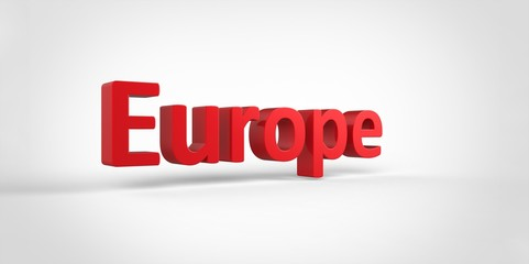 3D red Europe Word Text on white background