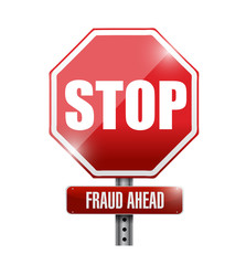 stop, fraud ahead road sign illustration