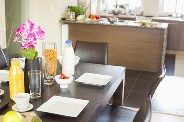 Breakfast on dining table at home