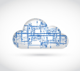 cloud computing blueprint illustration