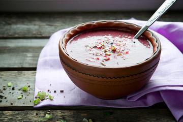 Hot cream beet soup