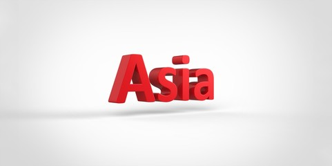 3D red Asia Word Text on white background