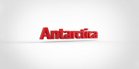 3D red Antarctica Word Text on white background