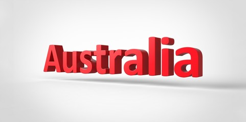 3D red  Australia Word Text on white background