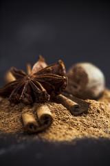 Cinnamon,  star anise and nutmeg