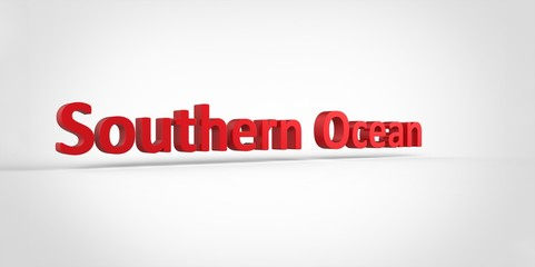3D red Southern Ocean Word Text on white background