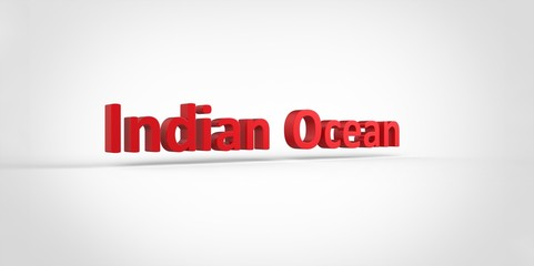 3D red Indian Ocean Word Text on white background