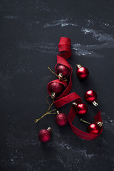 Christmas decoration with red ornaments