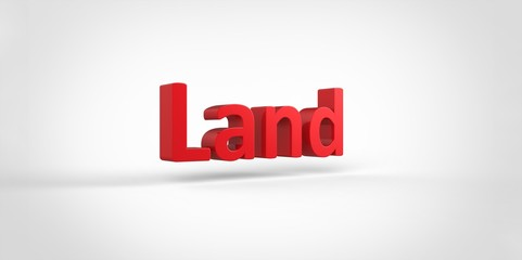 3D red Land Word Text on white background