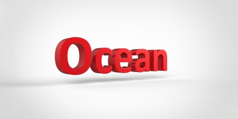3D red Ocean Word Text on white background