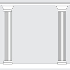 black and white line drawing. Doric order columns frame