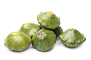 Green pattypan squashes