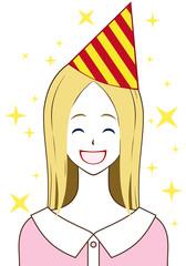女性 三角帽子 笑顔
