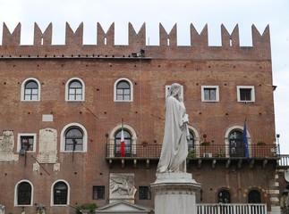Statue of Dante Alighieri in Verona in Italy