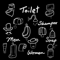 Toilet drawing icons set words