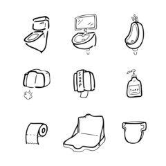 Toilet drawing icons set1