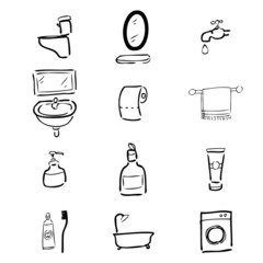 Toilet drawing icons set2