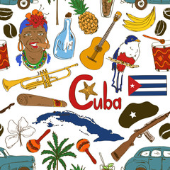 Sketch Cuban seamless pattern