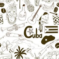 Sketch Cuban seamless pattern