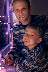 Father with son Christmas portrait