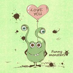 Monster holding a heart shape balloon