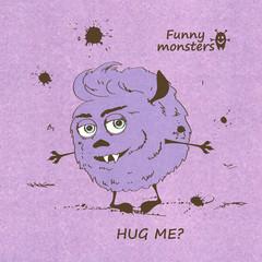 Hugging funny shaggy monster