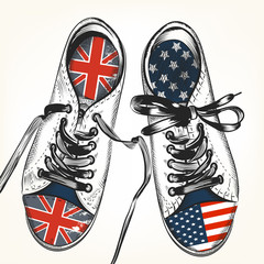 Fashion background with sports boots decorated by British and US