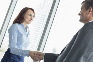 Side view of business people shaking hands in office