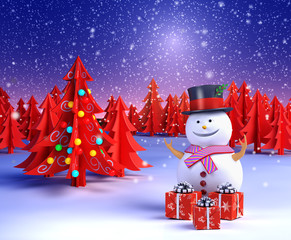 Snowman and Christmas tree background